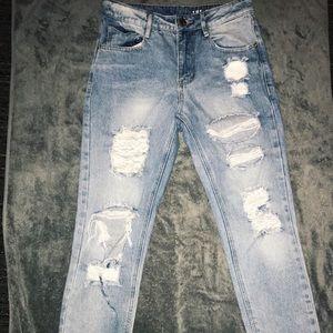Boyfriend High-waisted Distressed Denim Jeans